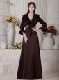 Modest Brown A-line Mother of the Bride Dress V-neck Beading Floor-length Satin