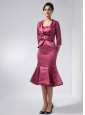 Modest Burgundy Mermaid Mother Of The Bride Dress Straps Knee-length Taffeta