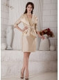 Modest Champagne Column Mother of the Bride Dress Strapless Knee-length Satin