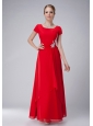 Modest Red Empire Scoop Mother Of The Bride Dress Ankle-length Chiffon Appliques