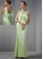 Modest Light Green Column Scoop Beading Prom Dress Floor-length Taffeta