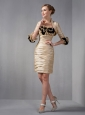 New Arrival Champagne Column Strapless Mini-length Taffeta Ruch and Hand Made Flowers Prom Dress