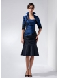 Perfect Navy Blue Mother Of The Bride Dress Column Strapless Beading and Appliques Knee-length Taffeta
