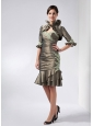 Pretty Olive Green Mother Of The Bride Dress Column Sweetheart Appliques Knee-length Taffeta