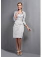 Simple Gray Column Mother Of The Bride Dress Scoop Beading Knee-length Satin