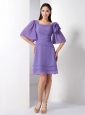 Simple Purple Mother Of The Brides Dress Empire Square Knee-length Chiffon