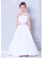 Sweet White and Lavender A-line Straps Bows Flower Girl Dress Ankle-length Taffeta