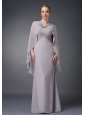 Wonderful Grey Column V-neck Mother Of The Bride Dress Chiffon Ruch Floor-length