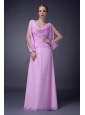 Beautiful Baby Pink Empire V-neck Mother Of The Bride Dress Chiffon Ruch Floor-length