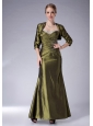 Beauty Olive Green Column Halter Mother Of The Bride Dress Ankle-length Taffeta Beading
