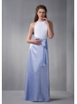 Cheap White and Lilac Scoop Bridesmaid Dress wth Chiffon Belt