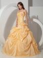 Custom Made Light Yellow Quinceanera Dress Taffeta Beading
