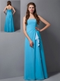 Customize Baby Blue Column Strapless Bridesmaid  Dress Floor-length Chiffon
