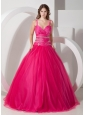 Customize Hot Pink  Spaghetti Straps Quinceanera Dress Tulle Beading