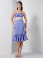 Customize Lilac Column Strapless Bridesmaid Dress Elastic Woven Satin Belt and Ruch Knee-length