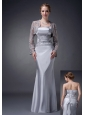 Customize Silver Column Strapless Mother Of The Bride Dress Elastic Woven Satin Appliques Floor-length