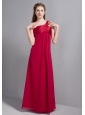 Customize Wine Red One Shoulder Floor-length Bridesmaid Dress