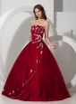 Customize Wine Red Quinceanera Dress with Appliques and Beading