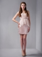 Elegant Pink Column Sweetheart Ruch Bridesmaid Dress Mini-length Chiffon and Satin