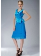 Formal Sky Blue Empire V-neck Mother Of The Bride Dress Knee-length Chiffon Ruch