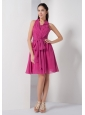 Fuchisa A-line Halter Bridesmaid Dress Chiffon Ruch Knee-length