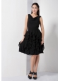 Gorgeous Black A-line V-neck Knee-length Ruffles Bridesmaid Dress Chiffon