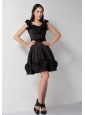 Lovely Black A-line Scoop Hand Made Flowers Bridesmaid Dress Knee-length Taffeta