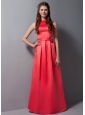 Modest Coral Red Bateau Satin Bridesmaid Dress with Sash