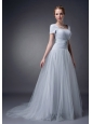 Modest Gray A-line Square Mother Of The Bride Dress Brush Train Tulle Appliques