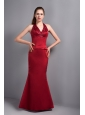 Popular Wine Red Satin Mermaid Halter Top Bridesmaid Dress with Beading