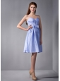 Simple Lilac Column Straps Ruch Bridesmaid Dress Knee-length Taffeta