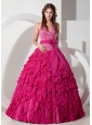 Exclusive Hot Pink Ball Gown Halter Quinceanera Dress Chiffon Embroidery Floor-length