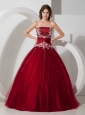 Wine Red Quinceanera Dress Strapless Satin and Tulle Appliques and Beading