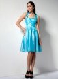 Brand New Aqua Blue A-line Halter Bridesmaid Dress Knee-length Taffeta