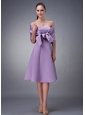 Chic Lavender A-line Strapless Bridesmaid Dress Tea-length Satin