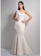 Classical Off White Mermaid One Shoulder Bridesmaid Dress Floor-length Satin and Lace
