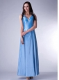 Custom Made Baby Blue Cloumn V-neck Bridesmaid Dress Taffeta Beading Ankle-length
