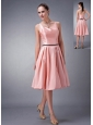 Custom Made Baby Pink A-line / Princess V-neck Knee-length Taffeta Sash Bridesmaid Dress