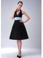 Custom Made Black A-line / Princess Halter Bridesmaid Dress Belt Knee-length Satin