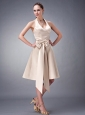 Custom Made Champagne A-line / Princess Halter Bridesmaid Dress Satin Sash Tea-length