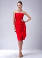 Custom Made Red Column / Sheath Strapless Bridesmaid Dress Satin Ruch Knee-length