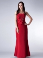 Custom Made Red Column Strapless Bridesmaid Dress Satin Beading Floor-length