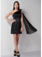 Customize Black Column Bridesmaid Dress One Shoulder Mini-length Taffeta