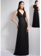 Customize Black Column V-neck Floor-length Bridesmaid Dress Elastic Wove Satin and Chiffon