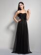 Customize Black Empire Halter Hand Made Flower Bridesmaid Dress Brush Train Taffeta and Chiffon