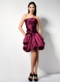 Customize Burgundy A-line Strapless Hand Made Flower Bridesmaid Dress Mini-length Taffeta