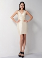 Customize Champagne Column Halter Bridesmaid Dress Mini-length Taffeta