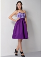 Customize Eggplant Purple A-line Sweetheart Bridesmaid Dress Knee-length Satin