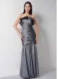 Customize Grey Column Strapless Hand Made Flower Bridesmaid Dress Floor-length Taffeta Ruch