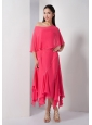 Customize Hot Pink Empire Strapless Asymmetrical Bridesmaid Dress Chiffon Sequins